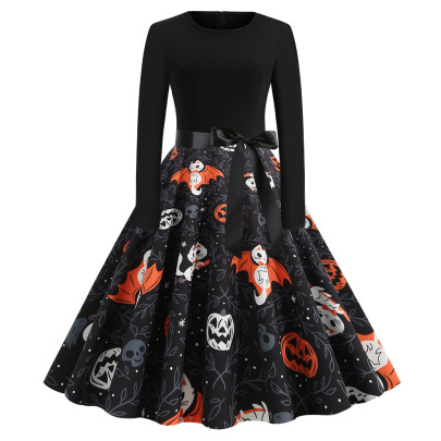 Women's Round Neck Long Sleeve Printed Dress With Black Ribbon Nihaostyles Wholesale Halloween Costumes NSSAP78582