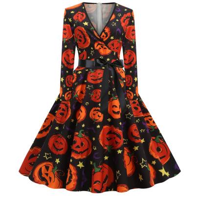 Women's V-neck Long-sleeved Printing Dress Nihaostyles Wholesale Halloween Costumes NSSAP78584