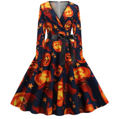 V-neck Long-sleeved Waist Printing Large Swing Dress Nihaostyles Wholesale Halloween Costumes NSSAP78586