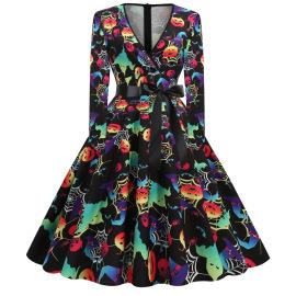 V-neck Long-sleeved Printing Large Swing Dress Nihaostyles Wholesale Halloween Costumes NSSAP78583