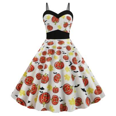 Women's Pumpkin Face Print Big Swing Sling Dress Nihaostyles Wholesale Halloween Costumes NSSAP78588