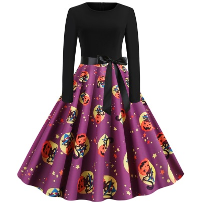 Round Neck Long Sleeve Ghost Print Waist Dress With Ribbon  Nihaostyles Wholesale Halloween Costumes NSSAP78587