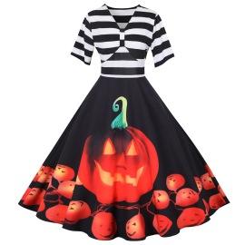 Women's Printing Big Swing Dress Nihaostyles Wholesale Halloween Costumes NSSAP78589