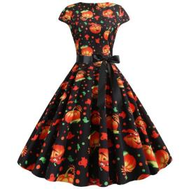 Women's Printing Big Swing Dress Nihaostyles Wholesale Halloween Costumes NSSAP78591