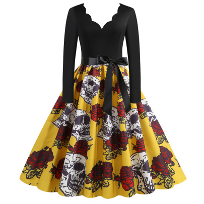 Women's Burned Flowers Wave V-neck Long-sleeved Printing Dress Nihaostyles Wholesale Halloween Costumes NSSAP78592