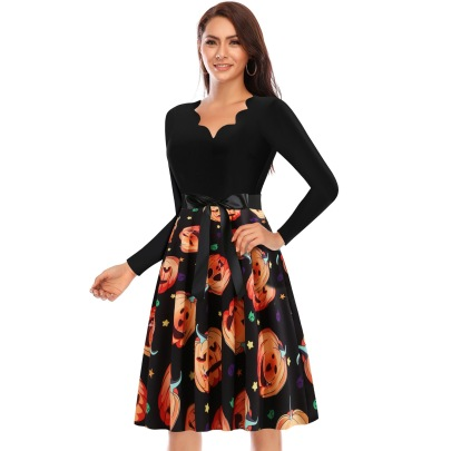 Women's Wavy V-neck Long Sleeve Stitching Pumpkin Printed Dress Nihaostyles Wholesale Halloween Costumes NSSAP78594