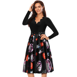 Women's V-neck Long-sleeved Contrast Stitching Printed Dress Nihaostyles Wholesale Halloween Costumes NSSAP78595