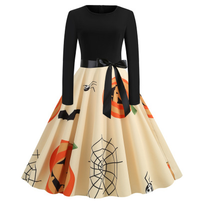 Women's Round Neck Long Sleeve Printed Dress With Black Ribbon Nihaostyles Wholesale Halloween Costumes NSSAP78597