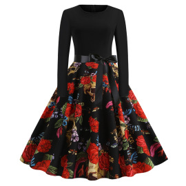 Women's Round Neck Long Sleeve Printed Dress With Black Ribbon Nihaostyles Wholesale Halloween Costumes NSSAP78598