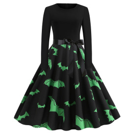 Women's Round Neck Long Sleeve Printed Dress With Ribbon Nihaostyles Wholesale Halloween Costumes NSSAP78599