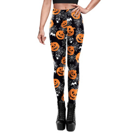 Women's Halloween Pumpkin Spider Web Print Tights Nihaostyles Wholesale Halloween Costumes NSNDB78618