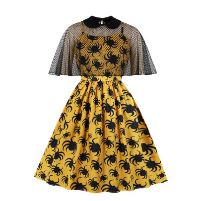 Women's Net Yarn Printing Dress Nihaostyles Disfraces De Halloween Al Por MayorNSMXN78628