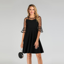 Women's Net Yarn Stitching Trumpet Sleeve Dress Nihaostyles Clothing Wholesale NSMXN78630