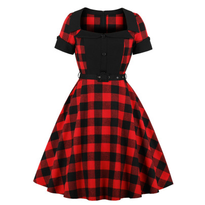 Women's Stitching Square Collar Plaid Dress Nihaostyles Clothing Wholesale NSMXN78631