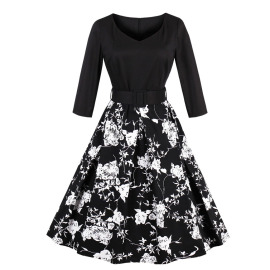 Women's V-neck Stitching Dress Nihaostyles Clothing Wholesale NSMXN78632