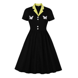 Women's Contrast Embroidery Dress Nihaostyles Clothing Wholesale NSMXN78637
