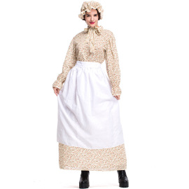 Women's Khaki Floral Dress Nihaostyles Wholesale Halloween Costumes NSPIS78644
