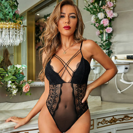 Women's Lace Stitching Mesh Cross Webbing One-piece Lingerie Nihaostyles Clothing Wholesale NSMDS78702