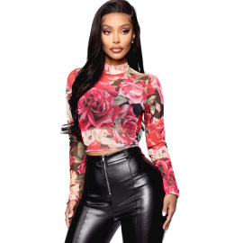 Women's Tight-fitting Rose Print Top Nihaostyles Wholesale Clothing NSXS78708