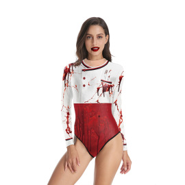 Women's Halloween Female Chef Clothes Printed Long-sleeved Swimsuit Nihaostyles Wholesale Halloween Costumes NSNDB78721
