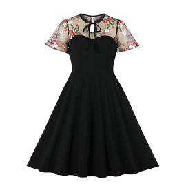 Women's Net Yarn Wave Dot Stitching Tutu Dress Nihaostyles Clothing Wholesale NSMXN78725