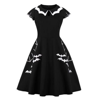 Women's Halloween Bat Embroidered Dress Nihaostyles Wholesale Halloween Costumes NSMXN78726