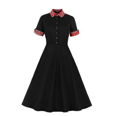 Women's Plaid Lapel Short Sleeve Dress Nihaostyles Clothing Wholesale NSMXN78727