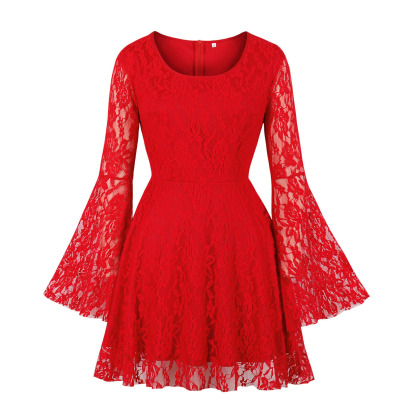 Women's V-neck Long-sleeved Lace Embroidered Dress Nihaostyles Clothing Wholesale NSMXN78728