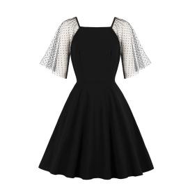 Women's Black Mesh Stitching Dress Nihaostyles Clothing Wholesale NSMXN78735