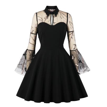 Women's Net Yarn Embroidery Trumpet Sleeve Stitching Dress Nihaostyles Wholesale Halloween Costumes NSMXN78736