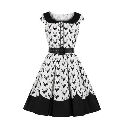 Women's Christmas Print Slim Dress Nihaostyles Wholesale Christmas Costumes NSMXN78737