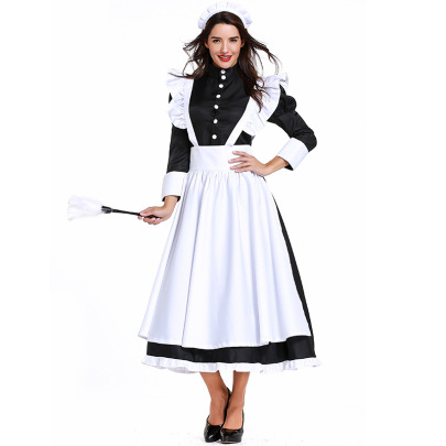Maid Housekeeper Black And White Long Skirts Cosplay Costume For Men And Women Nihaostyles Wholesale Halloween Costumes NSPIS78752