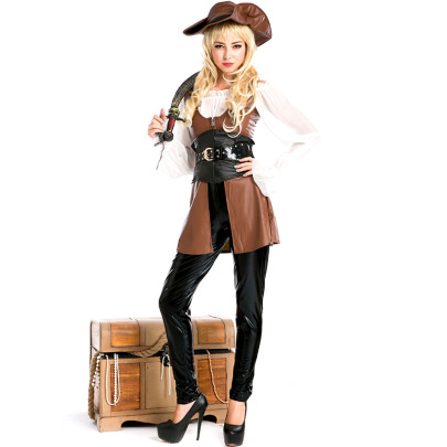 Women's Pirate Leather Warrior Cosplay Costume Suit Nihaostyles Wholesale Halloween Costumes NSPIS78754