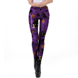 Women's Pumpkin Printed Leggings Nihaostyles Wholesale Halloween Costumes NSNDB78812