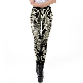 Women's Skull Print Halloween Leggings Nihaostyles Wholesale Halloween Costumes NSNDB78816