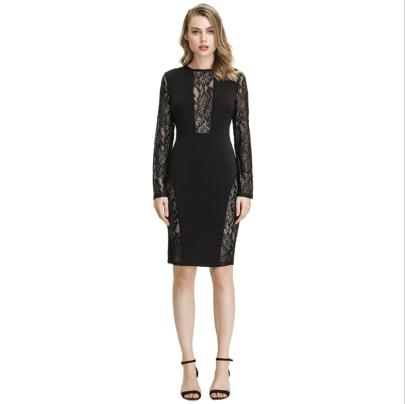 Autumn Women's Lace Stitching Long-sleeved Slim Bag Hip Dress Nihaostyles Wholesale Clothing NSYIS79353