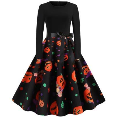 Women's Halloween Printing Big Swing Dress Nihaostyles Wholesale Halloween Costumes NSSAP78820
