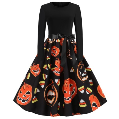 Women's Round Neck Long Sleeve Contrast Stitching Printed Dress Nihaostyles Wholesale Halloween Costumes NSSAP78822