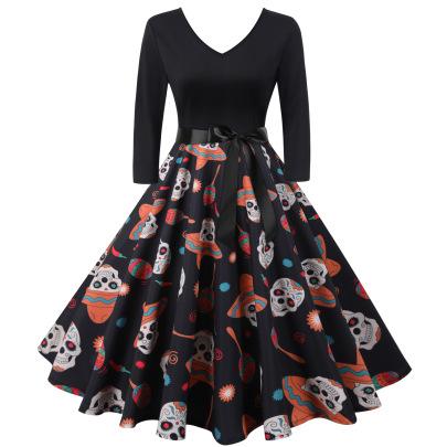 Women's V-neck Long-sleeved Printing Dress Nihaostyles Wholesale Halloween Costumes NSSAP78823