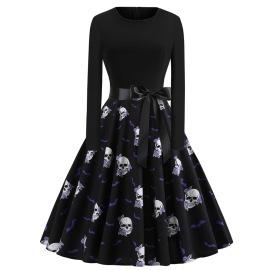 Women's Round Neck Long Sleeves Skull Printing Dress Nihaostyles Wholesale Halloween Costumes NSSAP78825