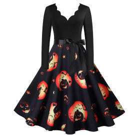 Women's Long-sleeved Ghost Printing Ribbon Skirt Nihaostyles Wholesale Halloween Costumes NSSAP78826
