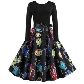 Women's Print Big Swing Dress Nihaostyles Wholesale Halloween Costumes NSSAP78827
