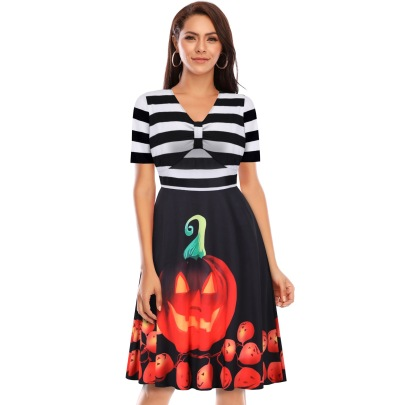 Women's Striped V-neck Short Sleeve Stitching Pumpkin Scary Face Printed Dress Nihaostyles Wholesale Halloween Costumes NSSAP78828