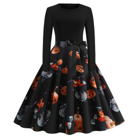 Women's Round Neck Long Sleeve Printed Dress With Black Ribbon Nihaostyles Wholesale Halloween Costumes NSSAP78832