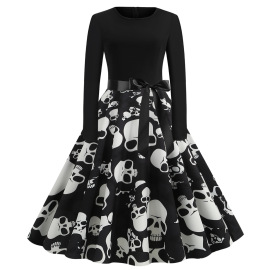 Women's Round Neck Long Sleeve Printed Dress With Black Ribbon Nihaostyles Wholesale Halloween Costumes NSSAP78833