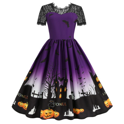 Women's Lace Round Neck Short Sleeve Printed Dress Nihaostyles Wholesale Halloween Costumes NSSAP78835