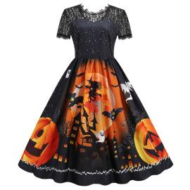 Women's Lace Short-sleeved Print Big Swing Dress 6 Colors Nihaostyles Wholesale Halloween Costumes NSSAP78837