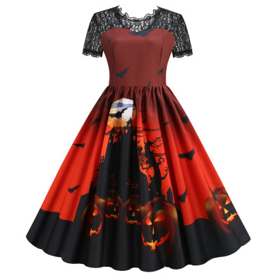 Women's Lace Short-sleeved Print Big Swing Dress Nihaostyles Wholesale Halloween Costumes NSSAP78838