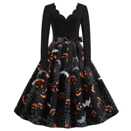 Women's Long-sleeved Ghost Printing Dress With Ribbon Nihaostyles Wholesale Halloween Costumes NSSAP78839
