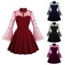 Women's Halloween Mesh Trumpet Sleeve Stitching Dress Nihaostyles Clothing Wholesale NSMXN78854